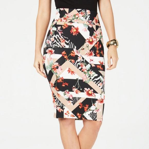 5add9578a4 Thalia Sodi Skirts | Floral Multicolored Scuba Pencil Skirt | Poshmark